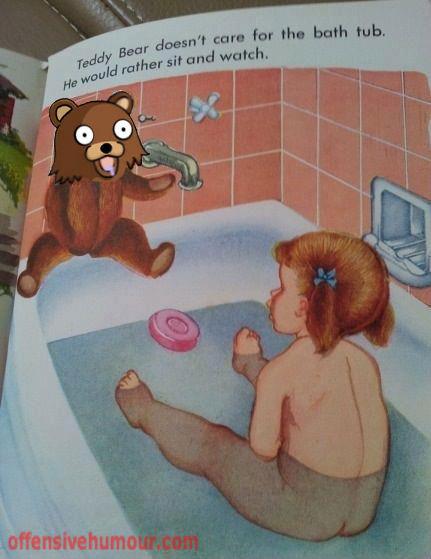 kid in bath with teddy bear