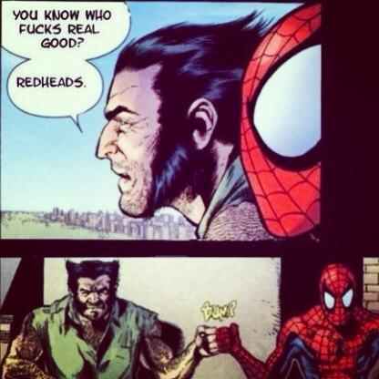wolverine and spiderman fist bump