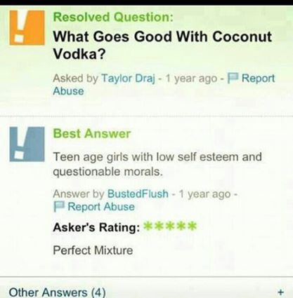 What goes with coconut vodka