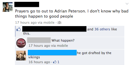 Adrian Peterson drafted to vikings
