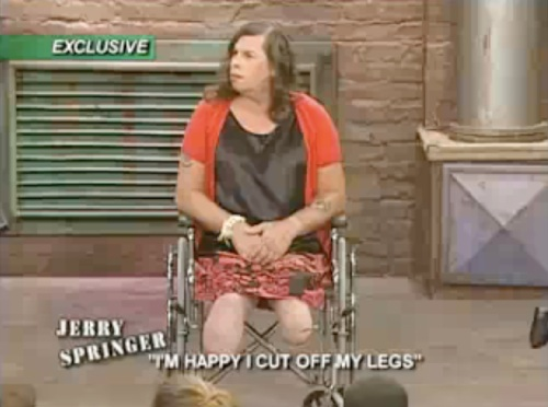 Happy to cut of legs Springer show