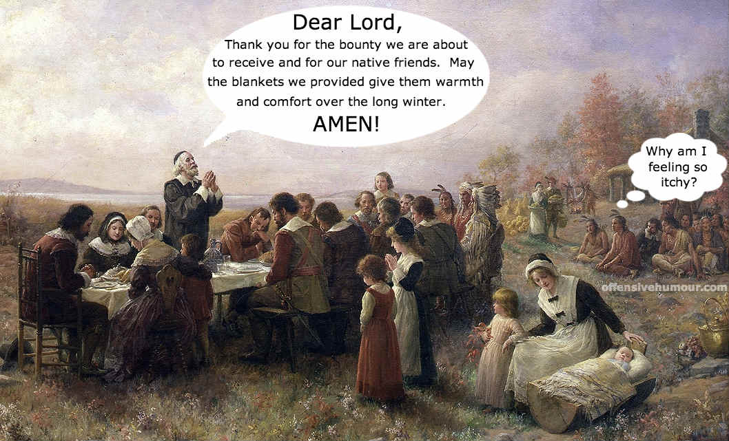 Saying grace at the first thanksgiving