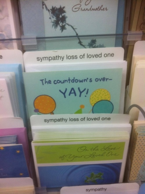 Fun with sympathy cards section