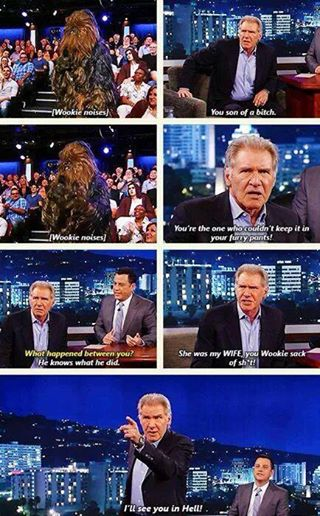 Kimmel - Harrison Ford and Chewbacca