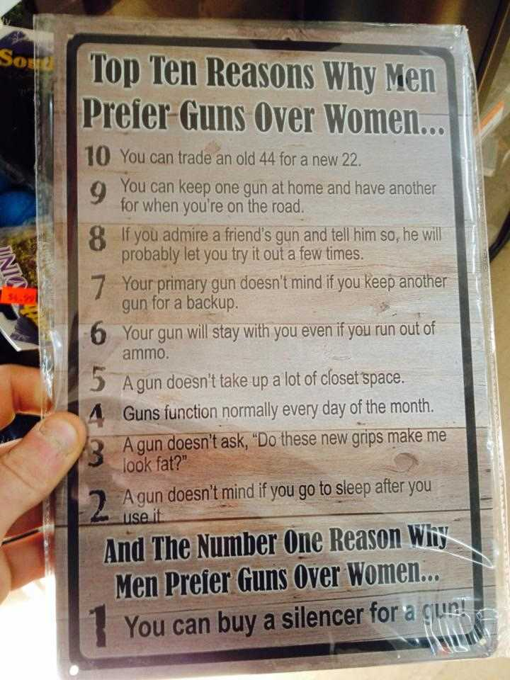 10 reasons why guns are better than women