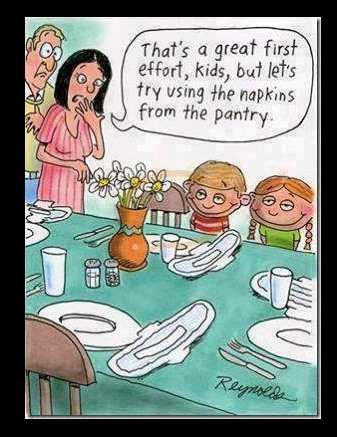 Kids setting the table