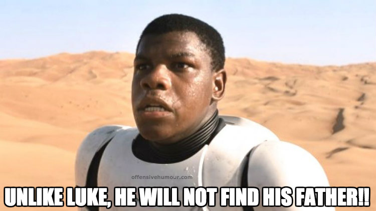 black stormtrooper won't meet his dad
