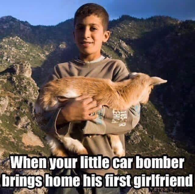 little boy with goat racist joke meme